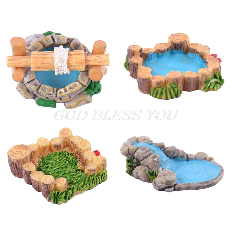 Creative:  3D Creative Natural Microlandschaft Ornament Wood Pile Lawn Mountain Water Pool Well Fairy Garden Plant House Home Decoration - Martin's & Co