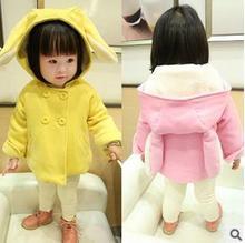 Новые зима 201515 детей шерстяная ткань пальто хан издание из девушек заячьи уши детская одежда два цвета : розовый желтый