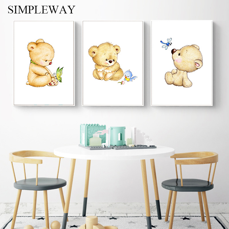 Kawaii Bear Nursery Wall Art Canvas