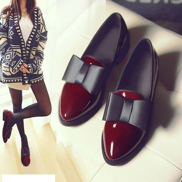 25fb02d365a8 Новинка 2017 года осенняя обувь женская обувь на низком каблуке с острым  носком с бантиком женская