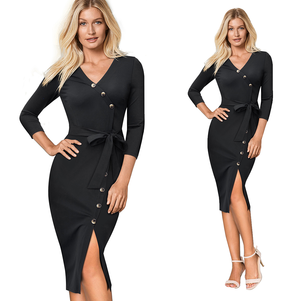 HTB1AuycKxSYBuNjSspjq6x73VXaS - Women's V-Neck Split Slim Pencil Office Dress-Women's V-Neck Split Slim Pencil Office Dress