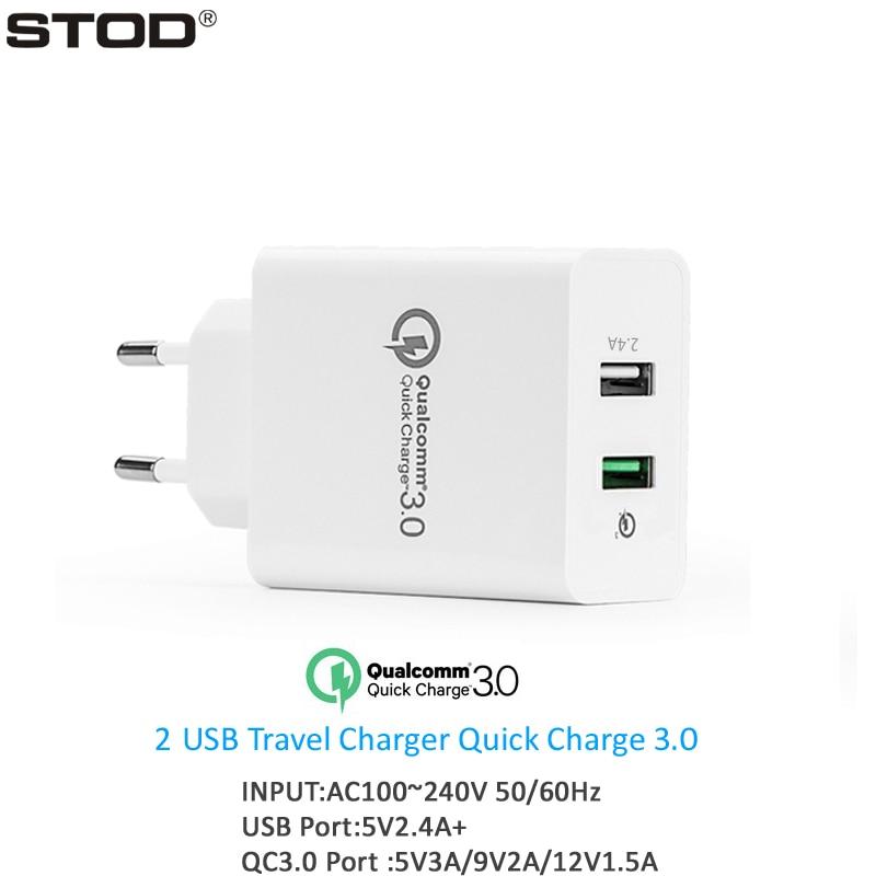 STOD Dubbel USB-laddare 30W Quick Charge 3.0 2.4A-port för IPhone - Reservdelar och tillbehör för mobiltelefoner - Foto 1