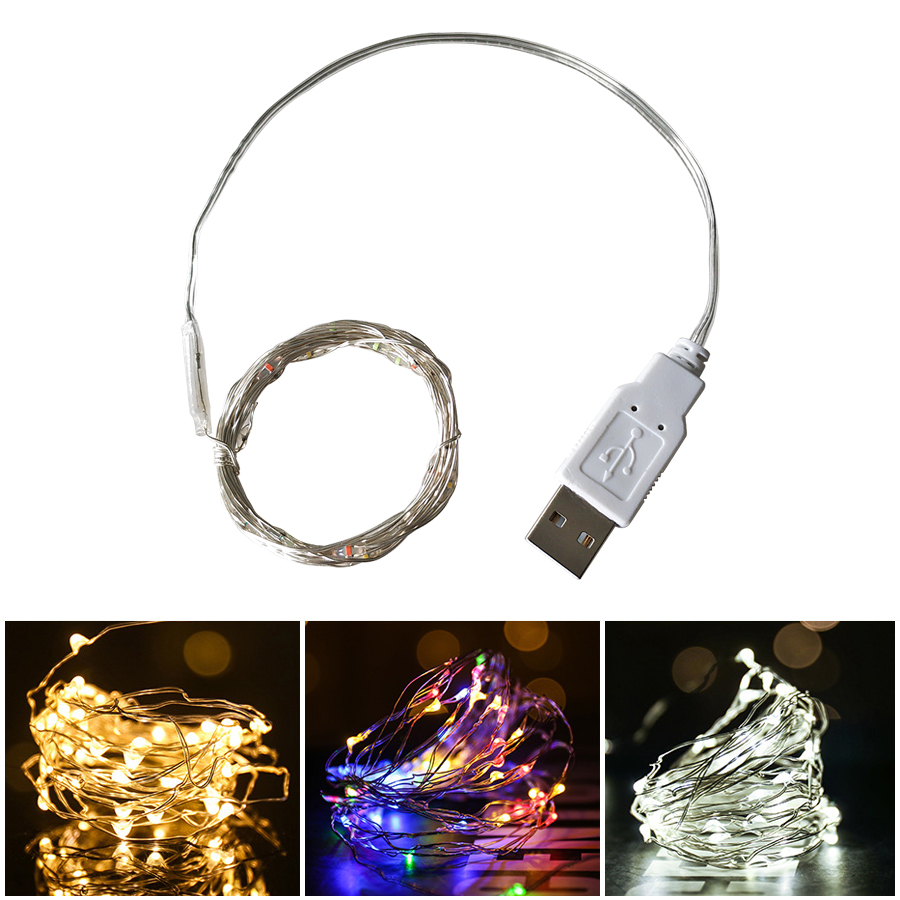 3m-12m LED String Light Strip Silver Wire Fairy Warm White Garland Home Christmas Wedding Party Decoration Powered By Usb Power
