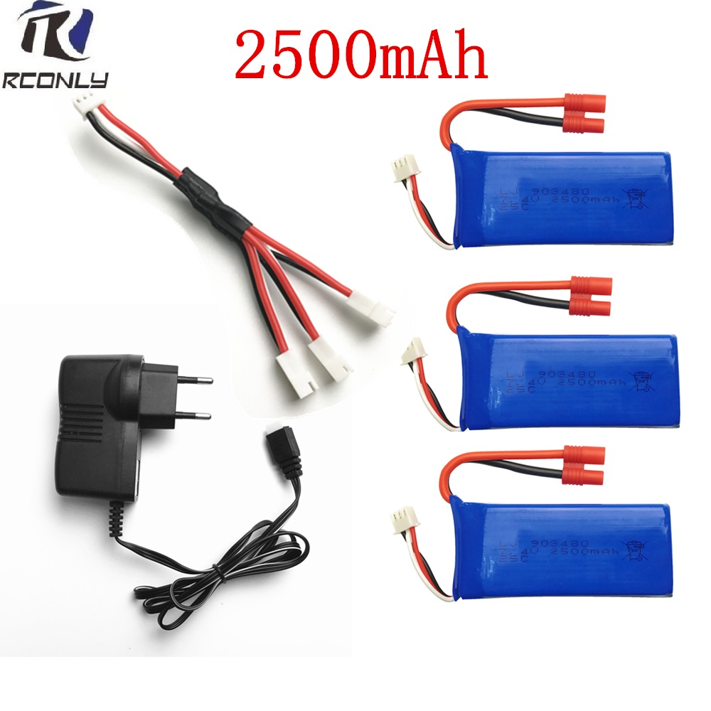 Syma X8C parts charger Syma X8C Battery 2500mah X8W X8G X8HC X8HW X8HG RC Quadcopter spare parts Charger+1 to 3 wire+ 3 battery hg p401 402 601 1 10 rc car parts 7 4v charger hg cha01