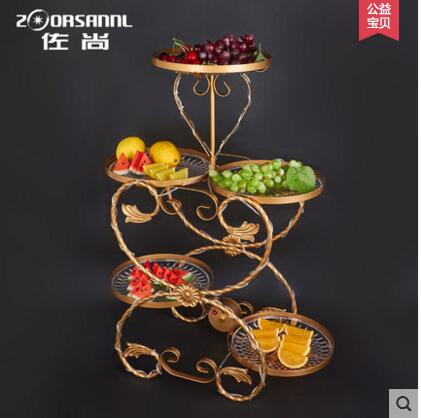 Light three layer fruit dish bar KTV iron art refreshments in Party DIY Decorations from Home Garden