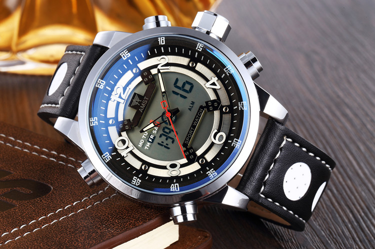 Authentic AMST Amy when special waterproof watch dual display multifunction military Luxury Brand Relogio Wristwatches