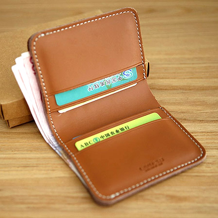 LANSPACE monedero de cuero hecho a mano de la cartera de los hombres de la cartera de los hombres pequeño monedero de cuero de la marca