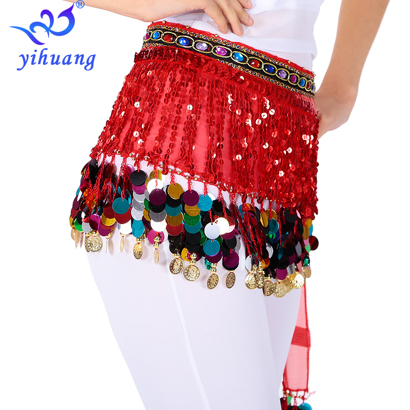 Women Arabian Belly Dancing Costumes Hip Scarf Halloween Party Performance Skirt Music Festival Belt Gold Coins Bollywood Outfit