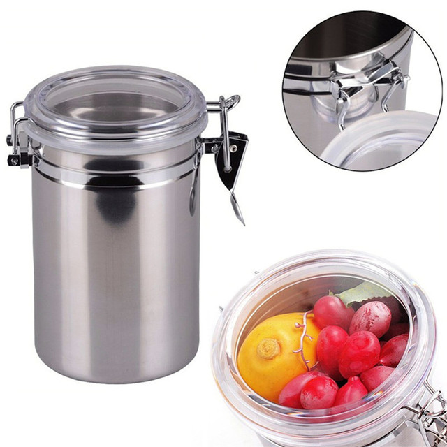 Multi Function Stainless Steel Kitchen Storage Bottle Beans Jar Sealed Canister  Coffee Sugar Tea Storage