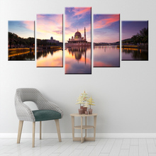 HD Print Wall Art 5 Panel Canvas Painting Cathedral Architecture Beautiful Landscape Posters Home Furnishing Mural