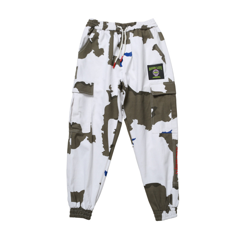 Outdoor 2019 Spring autumn camouflage hiking jungle camping trekking loose elastic waist pants men teenagers cargo trousers in Hiking Pants from Sports Entertainment