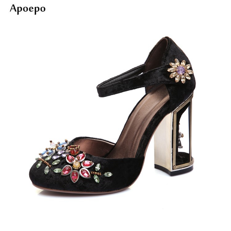 Apoepo Ankle Strap High Heel Shoes Vintage Velvet Crystal Embellished Thick Heels Woman Pumps 2018 Round Toe Mary Janes new fashion thick heels woman shoes pointed toe shallow mouth ankle strap thick heels pumps velvet mary janes shoes