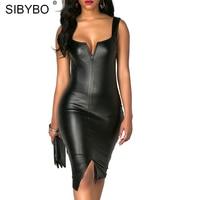 Sibybo PU Lederen V-hals Bodycon Zwarte Jurk Vrouwen Slanke Bandage Een Stap Jurken Club Party Strand Vrouwen Vestidos
