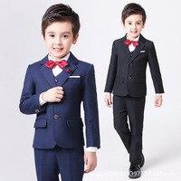 Autumn Kids Suits Blazers 2018 Fashion Baby Boys Shirt Pants Coat Vest Tie Suit Boys Formal Wedding Wear Cotton Children Clothes