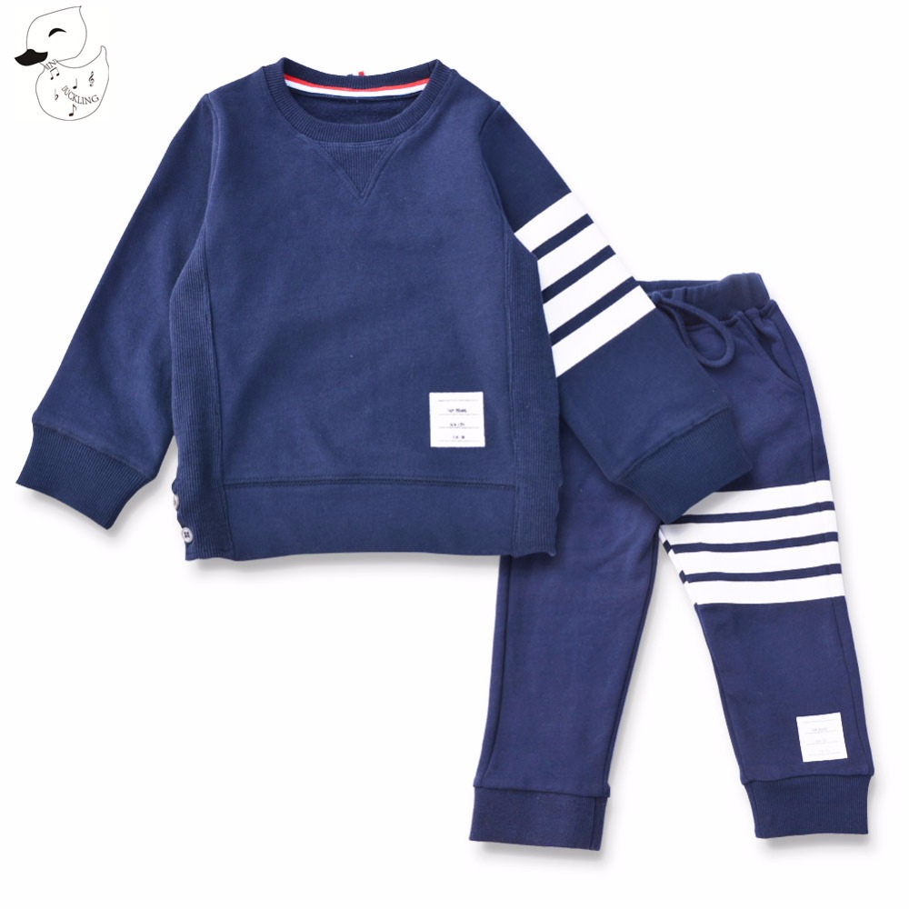 BINIDUCKLING Hoodies+Pants Clothes Boys Sets Autumn 100% cotton striped sports 2017 Baby Boys Sets Clothing Set Children suit spring autumn baby boys clothes sets hoodies