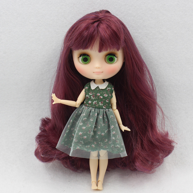 Middle Blyth 1/8 doll nude matte face green eyes joint body 20CM mix color red wine hair with bangs No.12532/135 free shipping