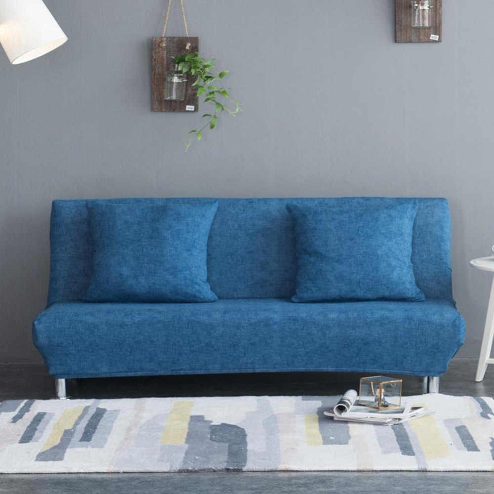 Meijuner Armless Sofa Cover Solid Color Texture Bed Elastic force All-inclusive Folding For HomeY360