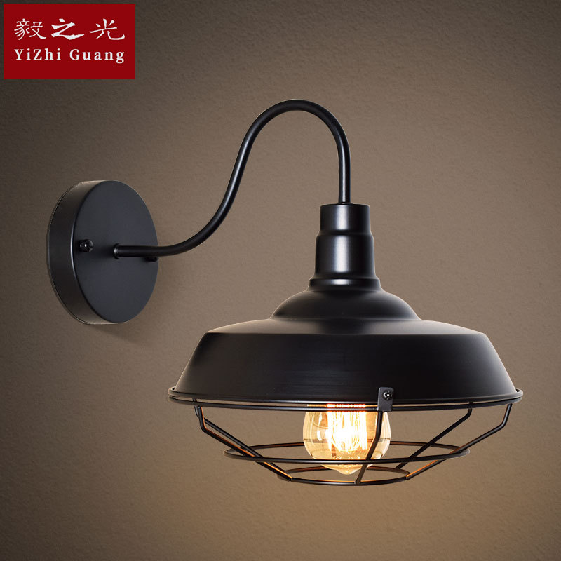 industrial wind restoring ancient ways wall lamp personality loft pot restaurants balcony  wrought iron lamp  wall lamp|Wall Lamps| |  - title=