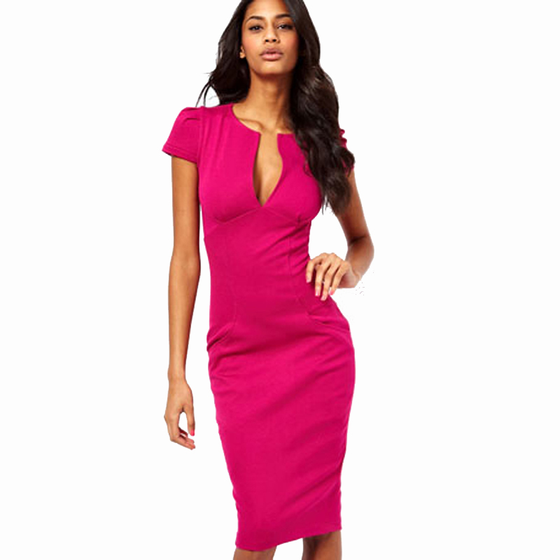 Sommer Sjarmerende Sexy Pencil Kjole Celebrity Style Mote Lommer Knelengde Bodycon Slim Business Kappe Party Dress E521