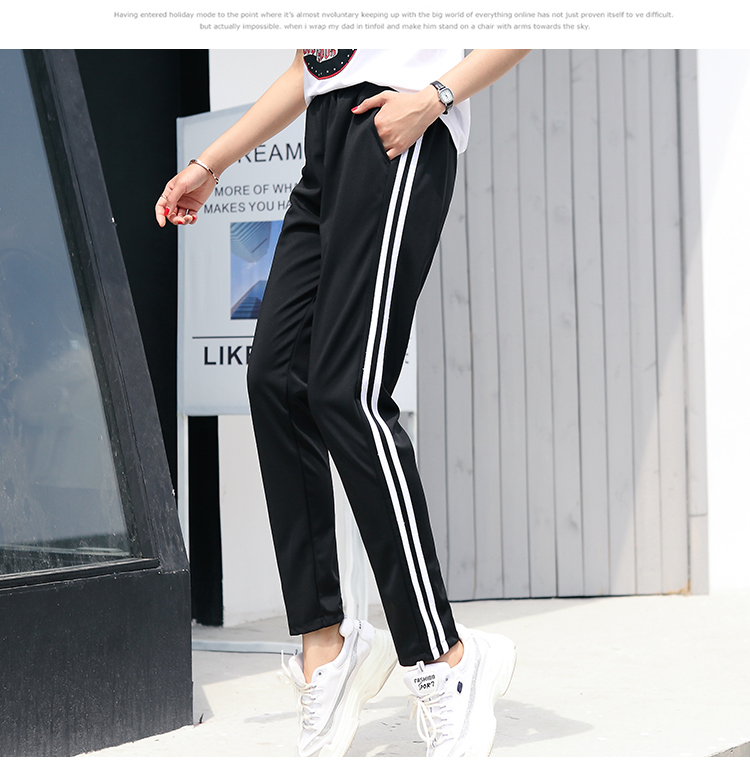 0364e7cce1692e 2018 autumn winter women Sweatpants black Casual Pants Female white Striped  Side Pencil pants fashion Loose Trousers S 3XL-in Pants & Capris from  Women's ...