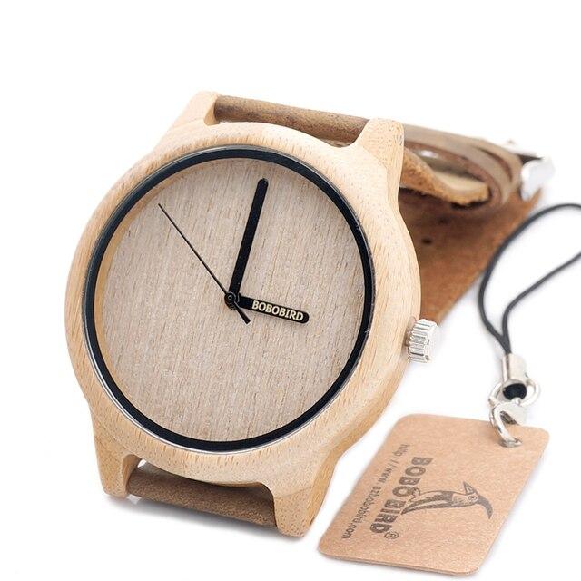 BOBO BIRD A22 Бамбук Дерево Кварцевые Аналоговые Часы Японский Miyota 2035 Движение С Логотипом Указатель в Подарочной Коробке