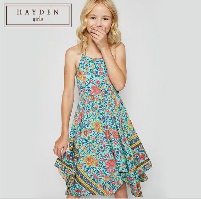 237db50e4 Bohemian Girl Dresses Teenager Printed Floral Dress Junior Fashion Singlet  Summer Dress Children Kids 2019 clothing