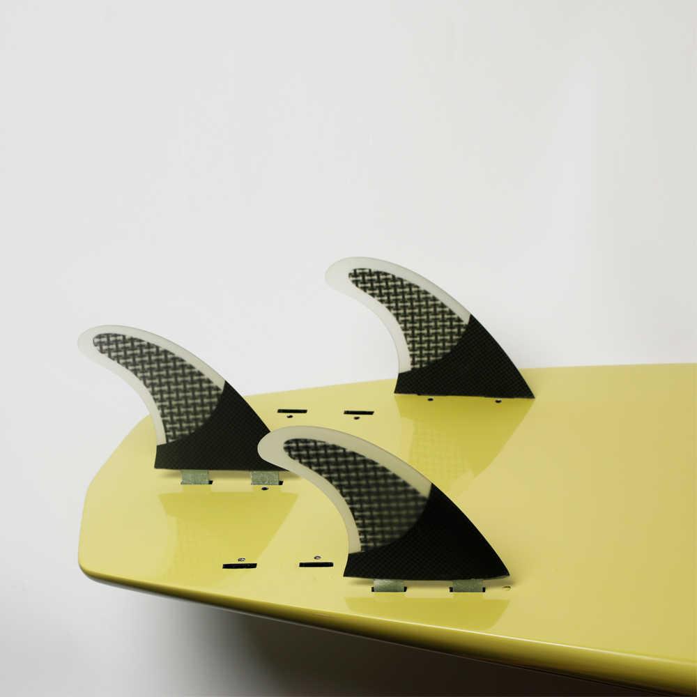 Hot sale gratis pengiriman serat karbon papan selancar honeycomb innegra thruster quilhas prancha de surfing fcs surfing sirip 3 piece set