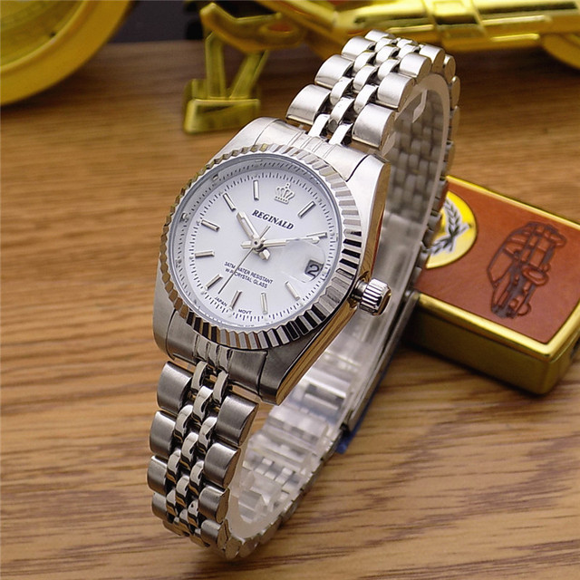 HK Fashion Brand REGINALD Waterproof Men Lady Lovers Full Stainless Steel With C