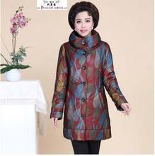 Новый 2016 зима теплая среднего возраста хлопок куртка женщин однобортный тонкий печать Большой размер 4XL вниз пальто AE942