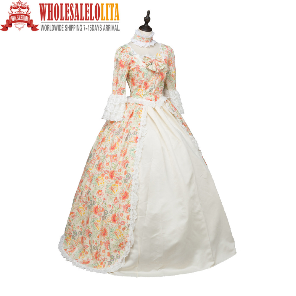 Top Sale Print Marie Antoinette Renaissance Dress Christmas Ball ...