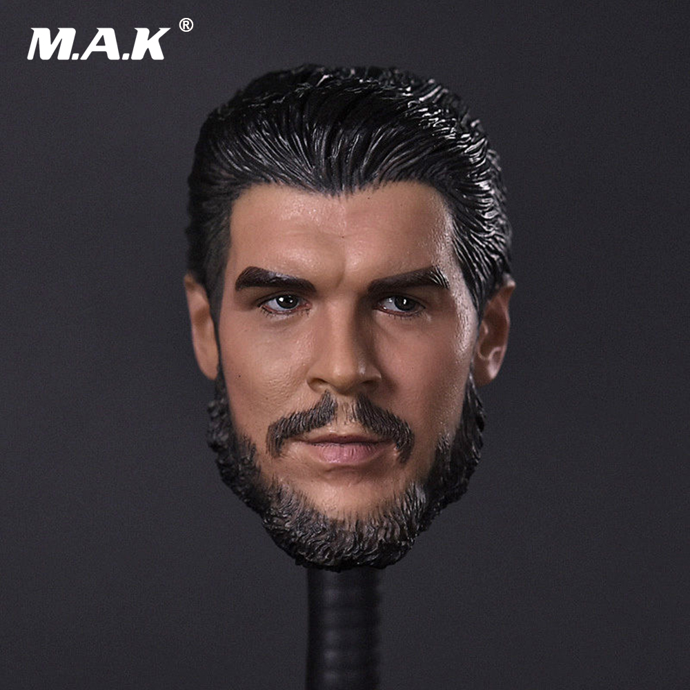 1/6 Scale Mens Head Sculpt Che Guevara Carving Model Collections For 12 Male Action  Figures Bodies Dolls  Accessories mnotht 1 6 male solider new clown head carving mj12 top edition heath ledger head sculpt for 12in action figures l30