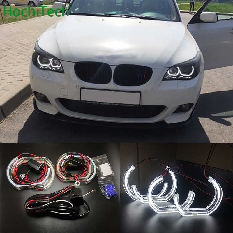 For BMW 5 SERIES E60 E61 LCI M5 2007-2010 Xenon headlight High Quality DTM Style White Crystal LED angel eyes Day light DRL