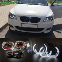 For BMW 5 SERIES E60 E61 LCI M5 2007 2010 Xenon headlight High Quality DTM Style White Crystal LED angel eyes Day light DRL