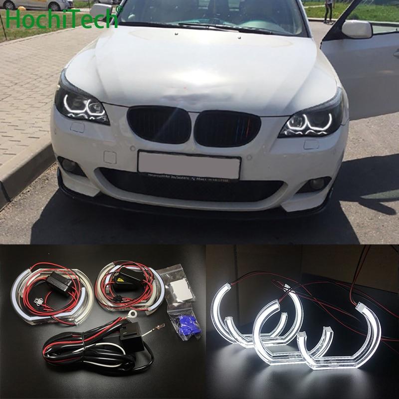 Pour BMW série 5 E60 E61 LCI M5 2007-2010 phare au xénon de haute qualité Style DTM cristal blanc LED angel eyes jour lumière DRL