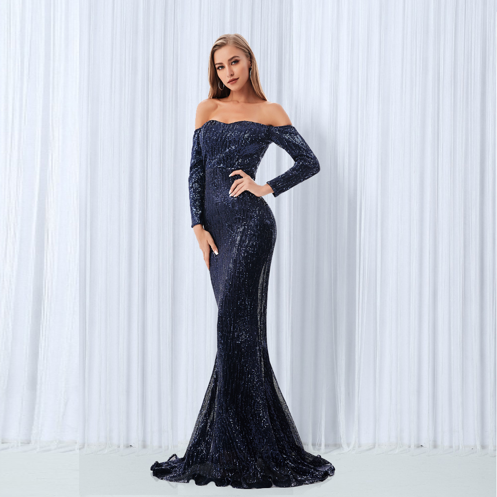 Sequined Off The Shoulder Maxi Dresses Champagne Gold Navy Blue Floor Length Party Dresses