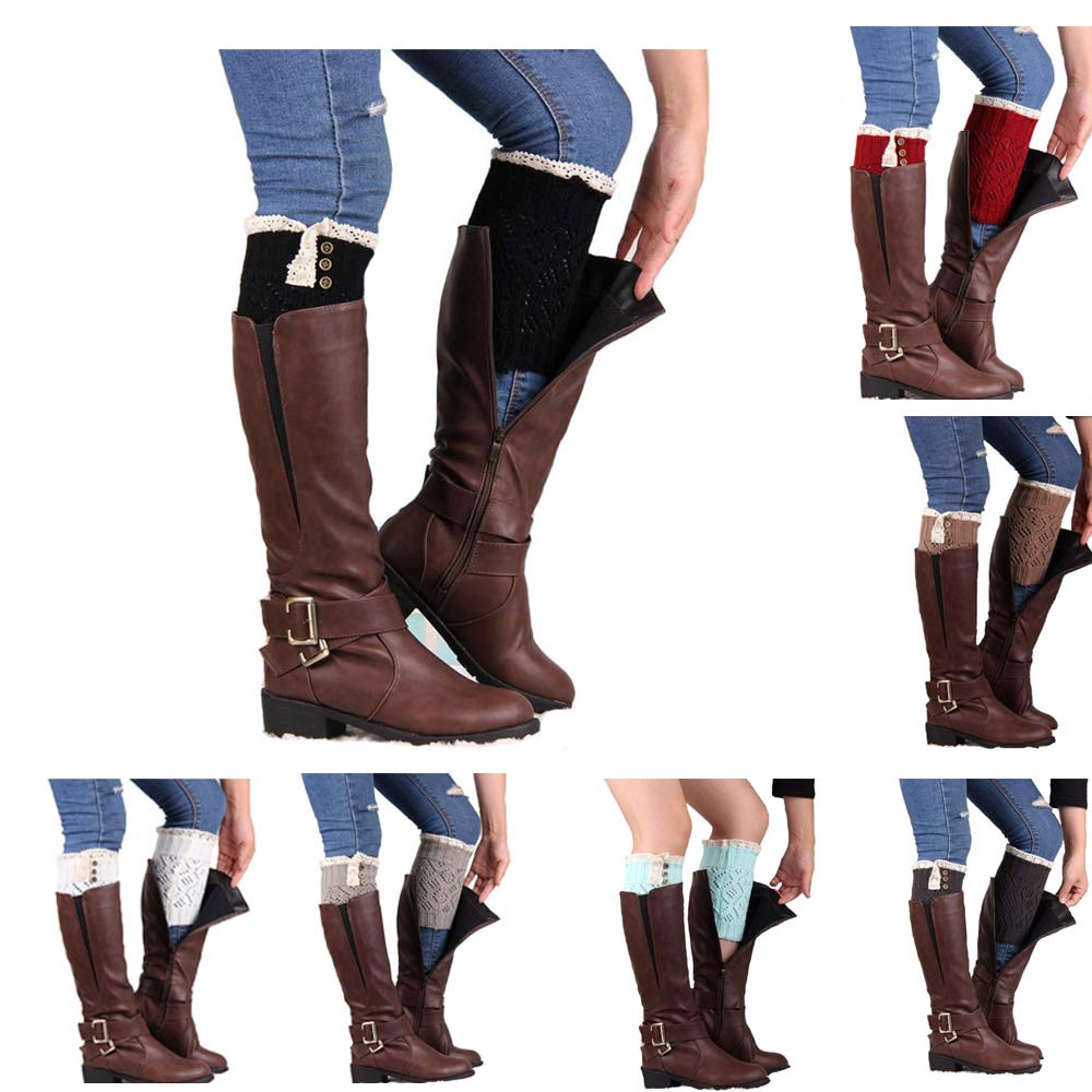 2016 Hot Women Winter Knitted Leg Warmer Fashion Lace Stretch Button Acrylon Wool Crochet Knit Boot Socks Toppers Cuffs