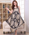 Sexy Black Chinese Female Satin Spaghetti Strap Nightgowns Women Vintage Robe Gown Summer Print Loose Nightdress One Size NR006