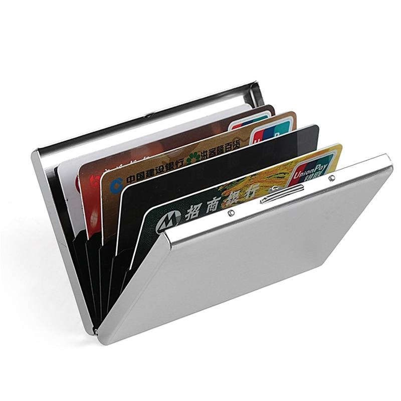 Fashion Aluminum Antimagnetic Card Holder Women Men Metal Cowhide Rfid Credit Card Business Card Holders Organizer Purse Wallet