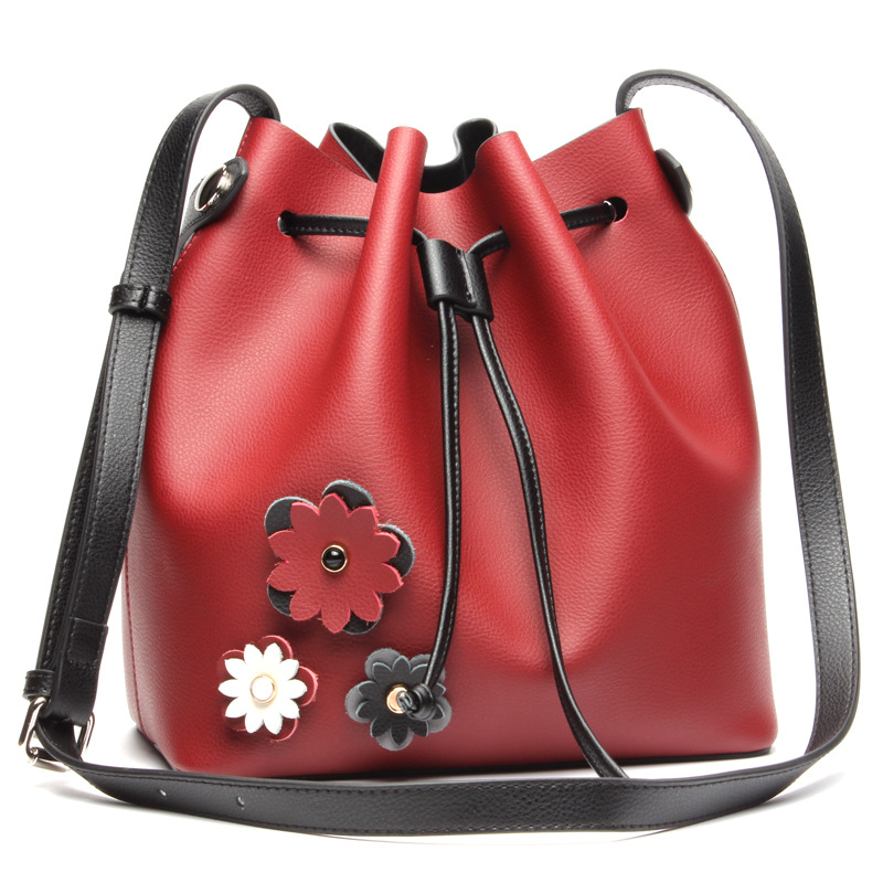 ФОТО PASTE Famous Brand Women Bag Genuine Leather Famous Brand bucket Fashion Shopping Bag Women's Messenger Shoulder Bags  T445