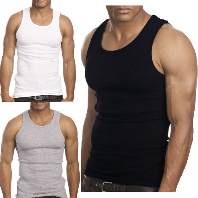 f826e354d808b1 2015 Muscle Men Top Quality Premium Cotton A Shirt Wife Beater Ribbed Tank  Top
