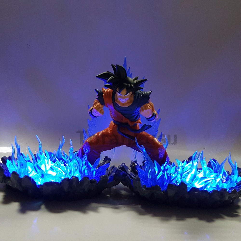Dragon Ball Z Action Figures Goku Super Saiyan God Blue Led Light Anime Dragon Ball Super Son Goku Figurine DBZ Toy dragon ball z action figure god goku super saiyan led lighting display toy anime dragon ball son goku collectible model diy155