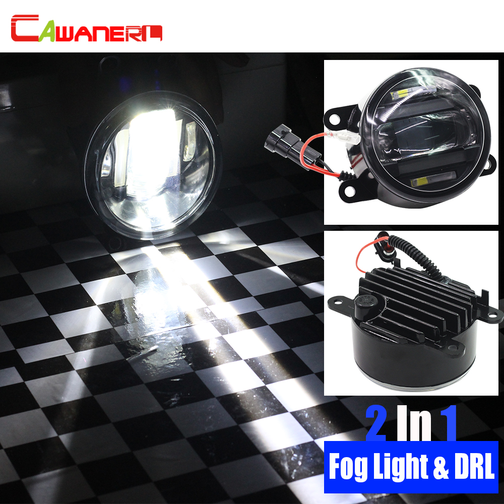 цена на Cawanerl 2 X Car LED Fog Light Daytime Running Lamp DRL For Acura Mazda Fiat Mitsubishi Nissan Land Rover Suzuki Subaru Citroen