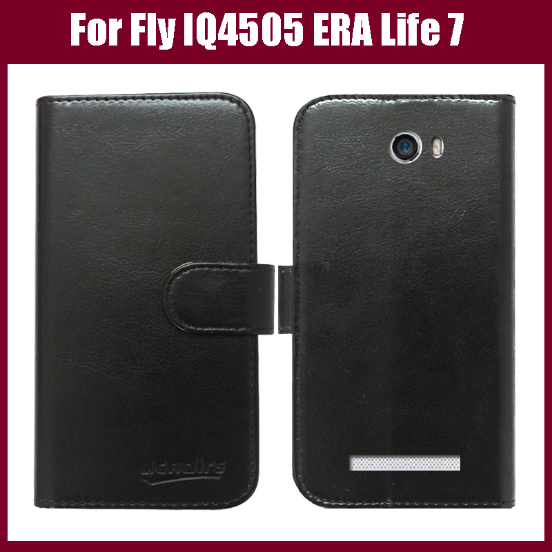 Hot! Fly IQ4505 Case New Arrival 6 Colors High Quality Flip Leather Protective Cover For Fly IQ4505 ERA Life 7 Quad Phone Case