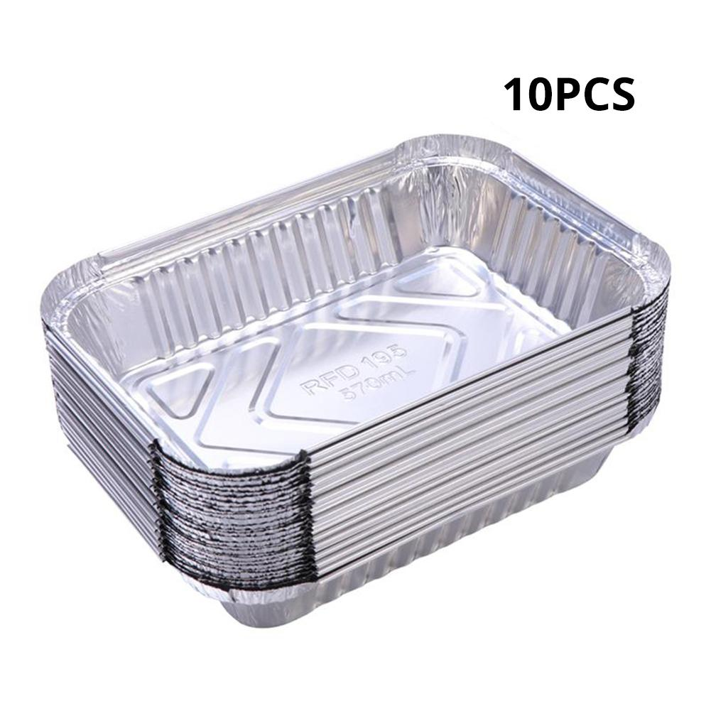 50PCS Aluminum Foil Trays BBQ Disposable Food Container Baking Pan With Lids