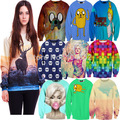 Moda Novo 2016 das mulheres hoodies impressão 3D camisolas Dos Desenhos Animados Aventura tempo Casual transporte da gota