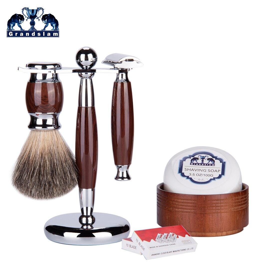 Grandslam Men Luxury Shaving Brush Gift Set Double Edge Safety Razor Kit Badger Hair Shaving Brush Holder Stand  Bowl Soap Cream