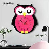 M Sparkling New Creative Cartoon Wall Clock Acrylic Owl Design Colorful Silent Wall Clocks Kids Room