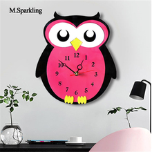 M.Sparkling new creative cartoon wall clock acrylic owl design colorful silent clocks kids room decoration unique gifts