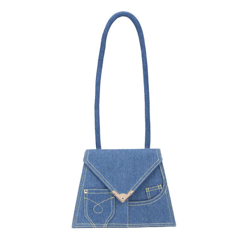 Triângulo personalidade saco denim bolsa feminina 2019 a primavera eo verão de moda de nova simples Mensageiro saco portátil