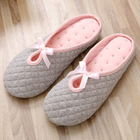 Cute Bowtie Winter Women Home Slippers For Indoor Bedroom House Soft Bottom Cotton Warm Shoes Adult